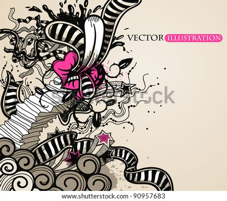 abstract vector illustration in a vintage style - stock vector