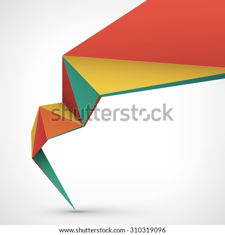 Abstract vector illustration, low poly style. Background design with 3d shape. Stylized design element for banner, poster, flyer, cover, brochure. - stock vector