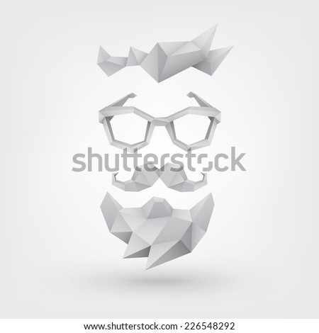 Abstract vector Illustration, low poly style. Hipster concept with hair, glasses, mustache and beard. Background for banner, poster, flyer, card, postcard, invitation, cover, brochure. Logo design. - stock vector