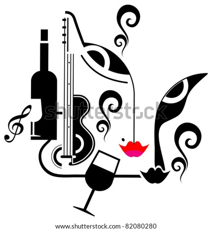 Abstract vector illustration - night party. - stock vector