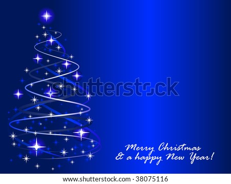Abstract vector illustration of a christmas tree with twinkles