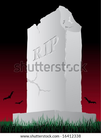 Abstract vector illustration of a damaged tombstone - stock vector