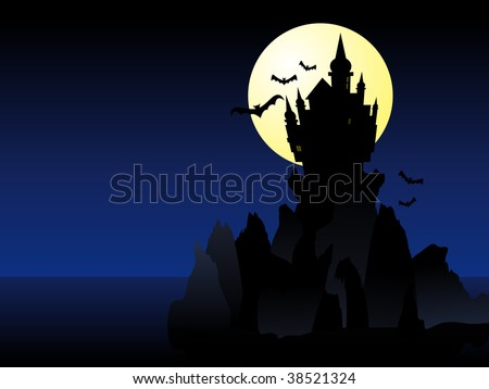 Abstract vector illustration of a dark spooky castle over some cliffs