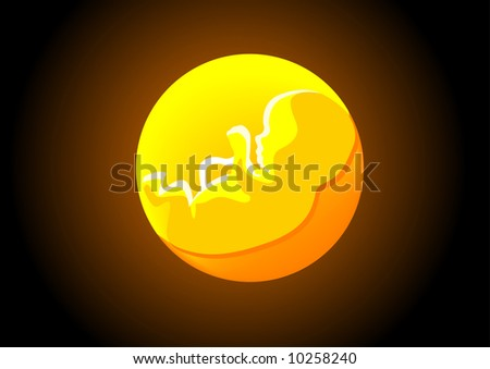 Abstract vector illustration of a foetus in the womb - stock vector