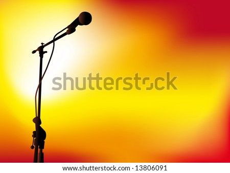 Abstract vector illustration of a microphone with spotlights - stock vector