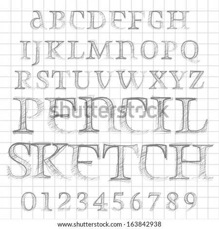 Abstract vector illustration of a pencil sketched font
