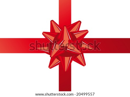 Abstract vector illustration of a red christmas bow over white with space for copy - stock vector