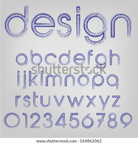 Abstract vector illustration of a sketched font