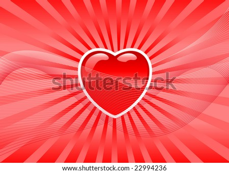 Abstract vector illustration of a valentine's heart over a red background