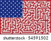 Abstract Vector illustration of american maze flag - stock vector