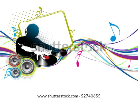Abstract vector illustration of an dj man playing tunes with music note background. - stock vector