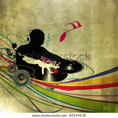 Abstract vector illustration of an dj man playing tunes with texture  background. - stock vector