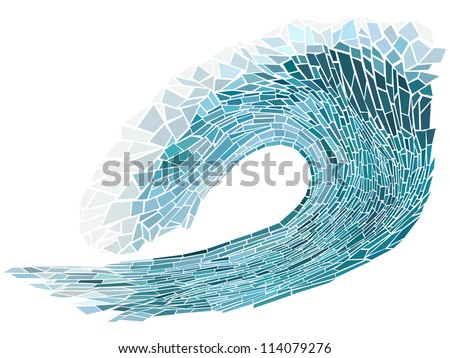 Abstract vector illustration of blue wave crest with foam isolated on white ( handmade stained glass window). - stock vector