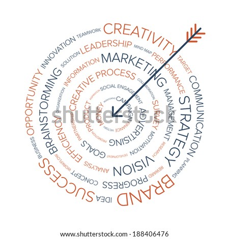 Abstract vector illustration of business target made of words - stock vector