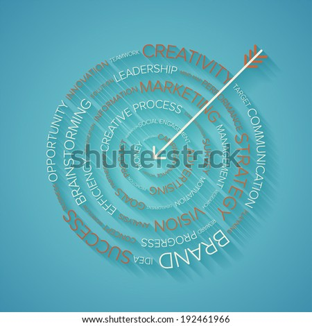 Abstract vector illustration of business target made of words with long shadow. - stock vector