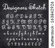 Abstract vector illustration of chalk sketched font on blackboard - stock photo