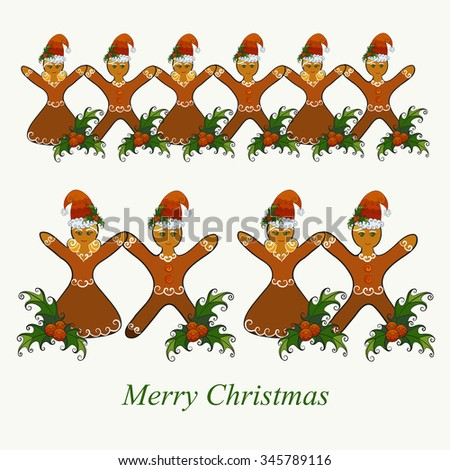 Abstract vector illustration of Christmas gingerbread girl and boy in Santa Claus hat with mistletoe. Garland set. Isolated on whitish background. Eps 8. - stock vector