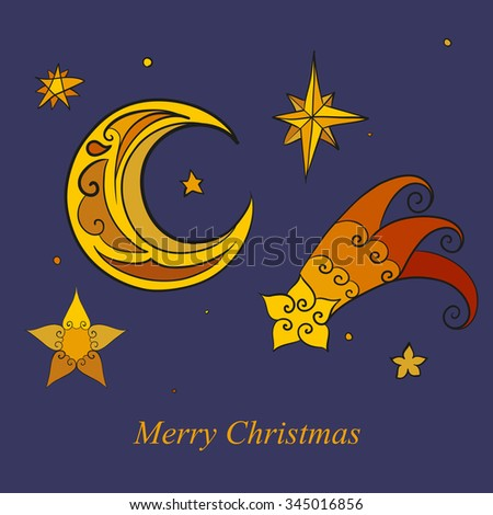 Abstract vector illustration of Christmas stars and moon set. Isolated on blue night background. Eps 8. - stock vector