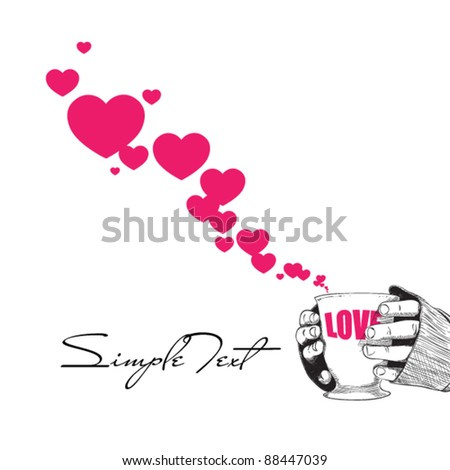 Abstract vector illustration of cup in hands with hearts. Place for your text. - stock vector