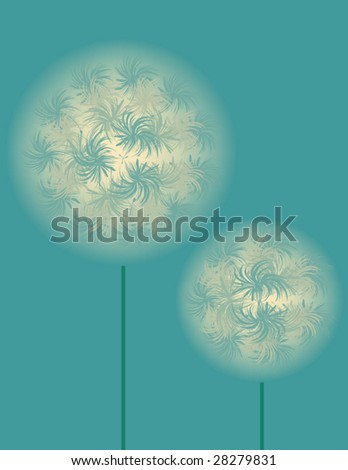 abstract vector illustration of dandelion on blue background - stock vector