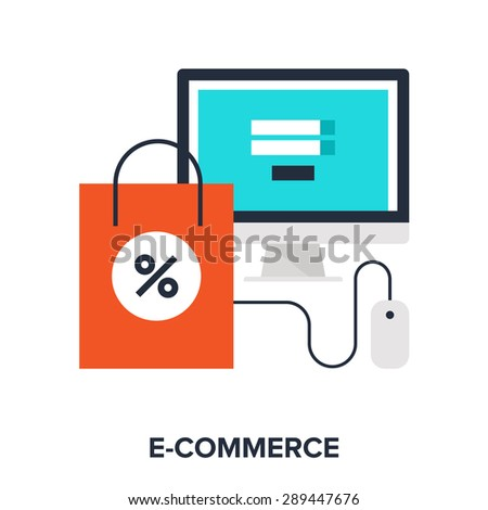 Abstract vector illustration of digital commerce flat design concept. - stock vector