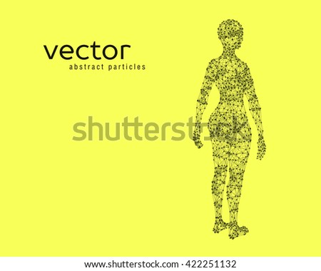 Abstract vector illustration of female body on yellow background. Perspective back view.