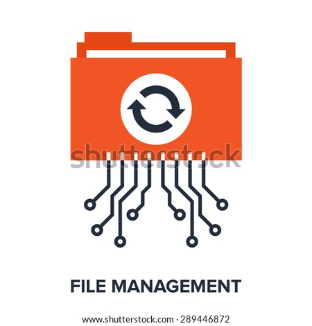 Abstract vector illustration of file management flat design concept. - stock vector
