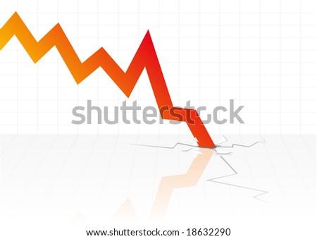 Abstract vector illustration of financial graphs crashing through the floor - stock vector