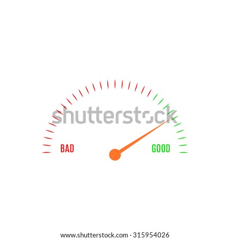Abstract vector illustration of gauge with scale from bad to good - stock vector