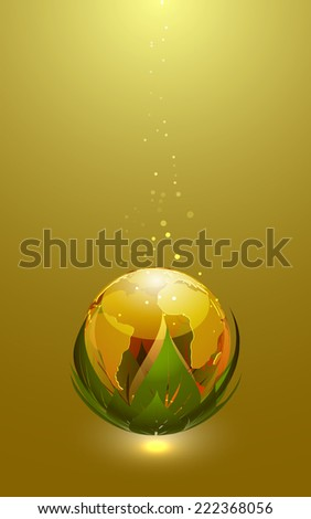 Abstract Vector Illustration of Glossy Earth Globe Icon - stock vector
