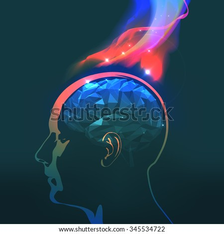 Abstract Vector Illustration of Headaches with Flames - stock vector
