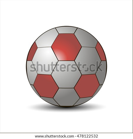 Abstract vector illustration of logo for game soccer football,isolated ball on trajectory over field playground,closeup on white background.Football drawing consisting of team,stadium,league,sport,art