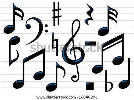 Abstract vector illustration of music notes - stock vector