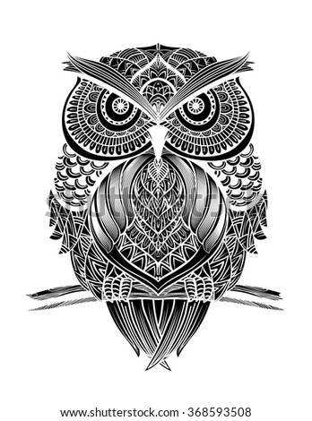 Abstract Vector Illustration Owl Made Ethnic Stock Vector
