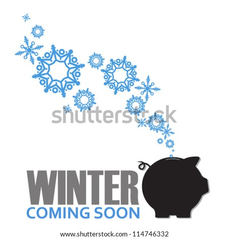 Abstract vector illustration of piggy bank and snowflakes. - stock vector