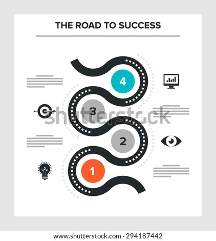 Abstract vector illustration of road to success flat infographic concept. - stock vector