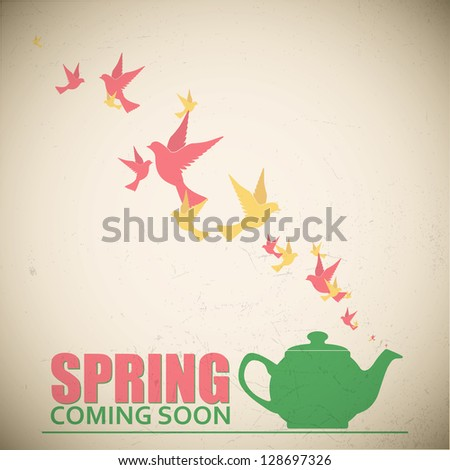 Abstract vector illustration of teapot and birds. - stock vector