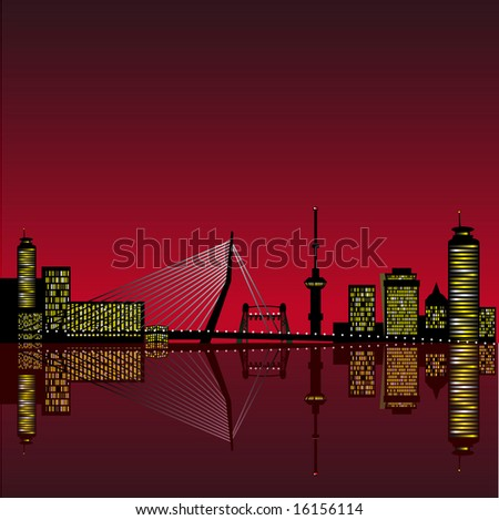 Abstract vector illustration of the skyline of Rotterdam with reflection in the water - stock vector