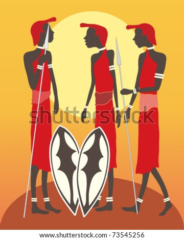 abstract vector illustration, of three masai men in traditional red robes with shields and spears on orange and yellow background in eps 10 format - stock vector