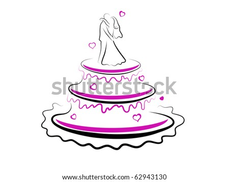 Abstract vector illustration of wedding cake