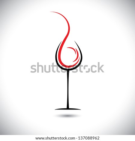 Abstract vector illustration of wine pouring(splash) into glass. - stock vector