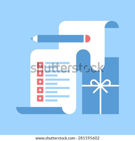Abstract vector illustration of wish list flat design concept. - stock vector