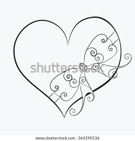 Abstract vector illustration of zen tangle floral heart tied with ribbon bow. Hand-drawn symbol. Black object isolated on white background. For wedding valentine day design, adult coloring page. Eps 8 - stock vector