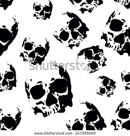 Abstract vector illustration seamless with skulls