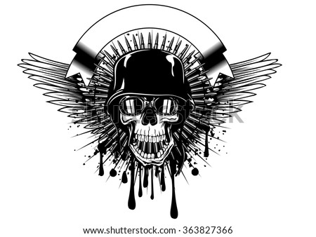 Abstract vector illustration skull in goggles and helmet on grunge splash