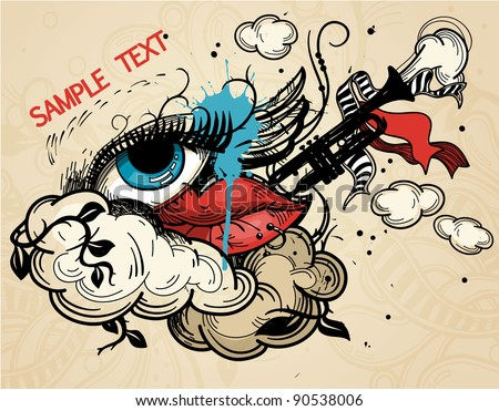 abstract vector illustration with a  colorful eye and lips in a vintage style - stock vector
