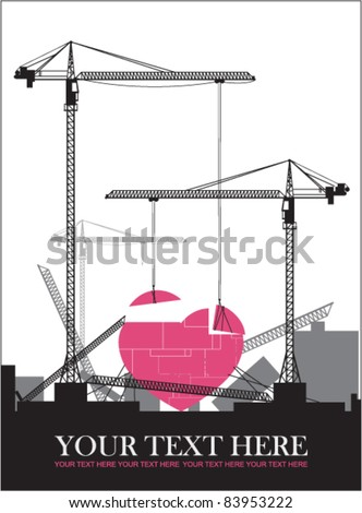Abstract vector illustration with cranes and heart. Place for your text. - stock vector