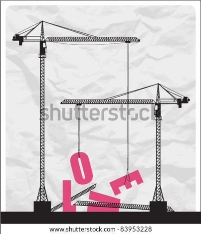 Abstract vector illustration with cranes and letters. - stock vector
