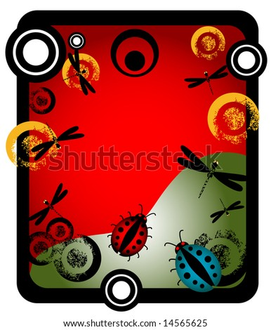 Abstract vector illustration with dragonflies, ladybirds and grunge circles - stock vector