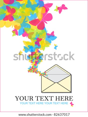 Abstract vector illustration with envelope and butterflies. Place for your text.